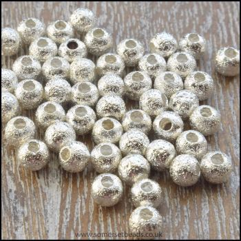 4mm Silver Plated Stardust Beads