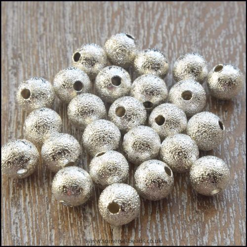 6mm Silver Plated Stardust Beads