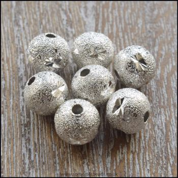 8mm Silver Plated Star Pattern Stardust beads