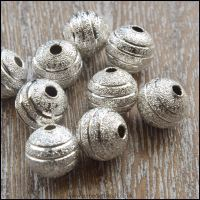 8mm Silver Plated Striped Stardust Beads
