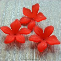 Red Lucite Flower Beads 29mm x 27mm Pk 10