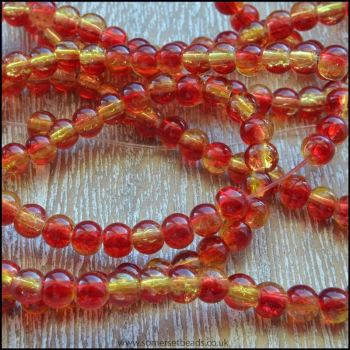 4mm Red & Gold Two Tone Crackle Glass Beads