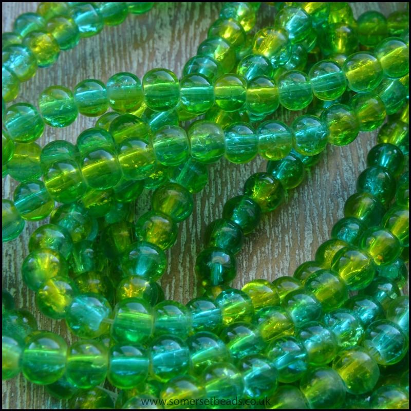 4mm Yellow & Green Two Tone Crackle Glass Beads