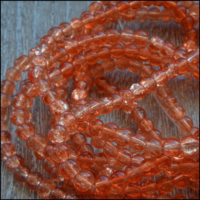 4mm Light Orange Crackle Glass Beads
