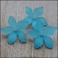 Turquoise Lucite Flower Beads 29mm x 27mm Pk 10