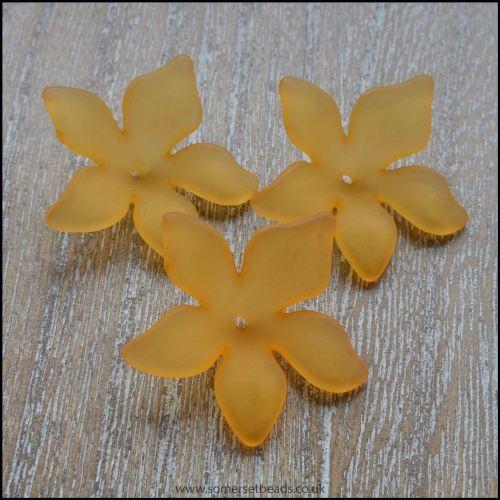 Orange Lucite Flower Beads 29mm x 27mm Pk 10