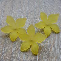 Yellow Lucite Flower Beads 29mm x 27mm Pk 10