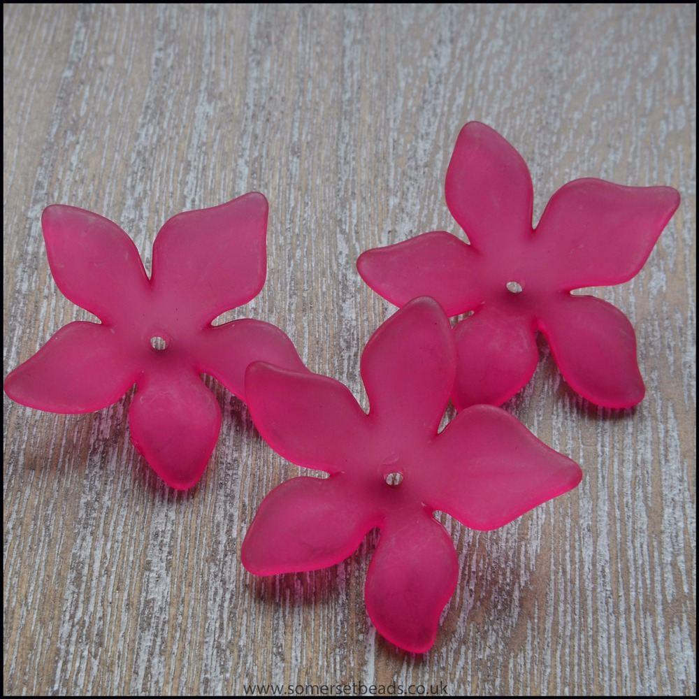 Fuchsia Pink Lucite Flower Beads 29mm x 27mm Pk 10