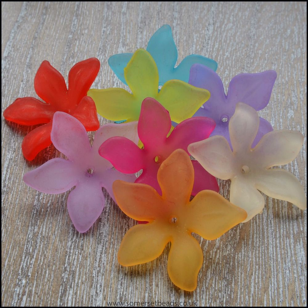 Mixed Lucite Flower Beads 29mm x 27mm Pk 10