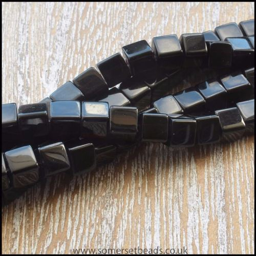 4mm Black Glass Cube Beads