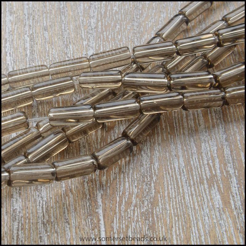 Smokey Brown Glass Tube Beads