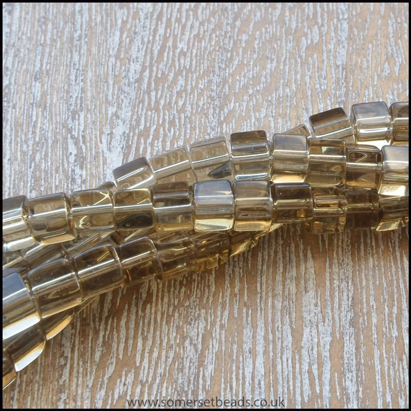 4mm Smokey Brown Glass Cube Beads