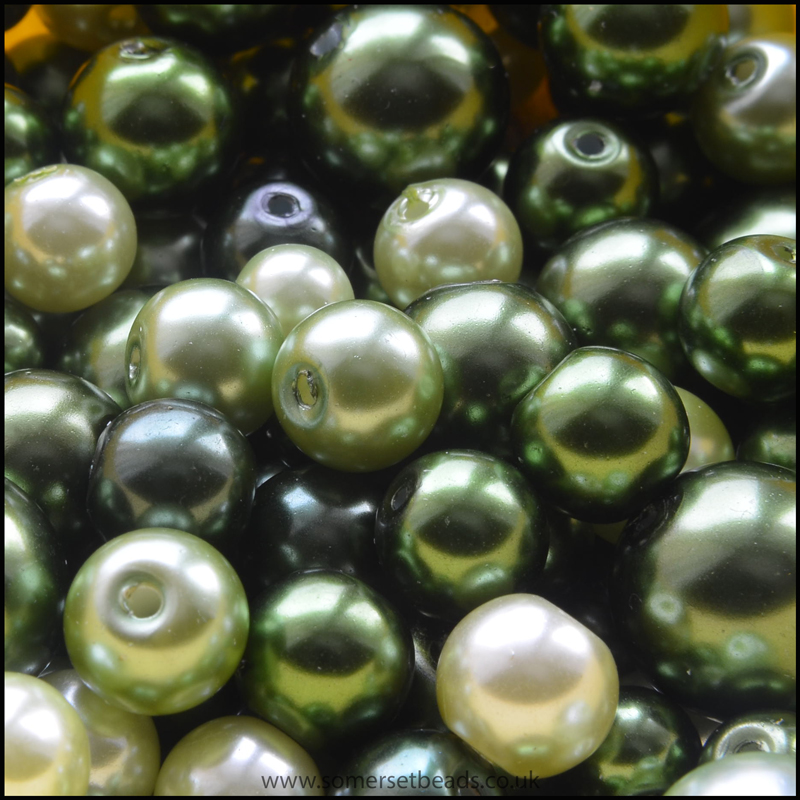 Green Glass Pearl Bead Mix - 100g