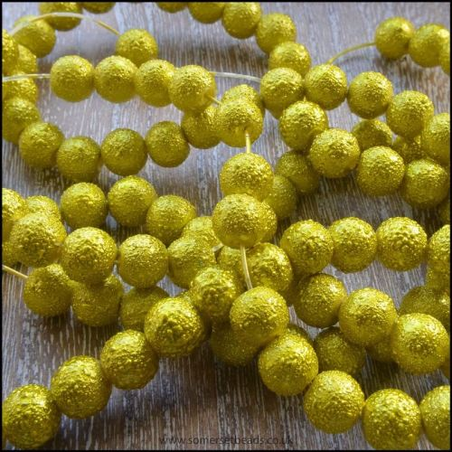 8mm Chartreuse Textured Glass Pearl Beads