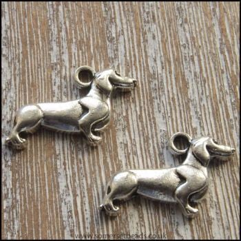 Silver Tone Sausage Dog Charms