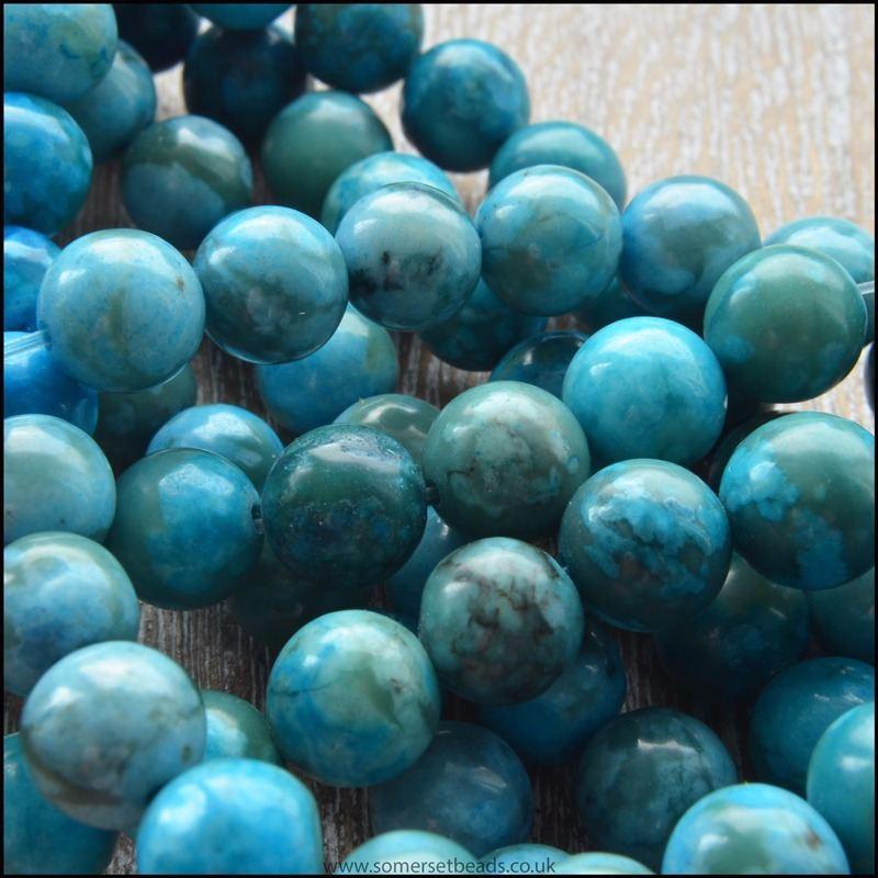 8mm Dyed Blue Jasper Plain Round Beads