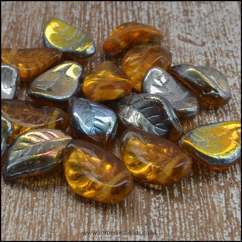 Czech Glass Pressed Twisted Leaf Shaped Beads - Gold AB.