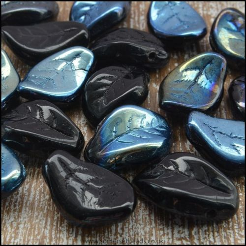 Czech Glass Pressed Curved Leaf Shaped Beads - Black AB