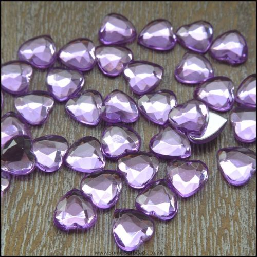 8mm Purple Acrylic Rhinestone Heart  Non Hot Fix Flat Back Crystals