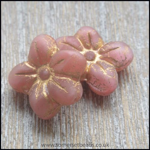 czech glass pressed puffy flower bead - rose antique gold2