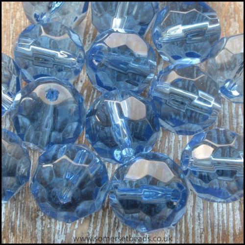 10mm cornflower blue faceted round glass bead
