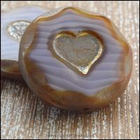 czech glass heart flat coin bead vintage lilac