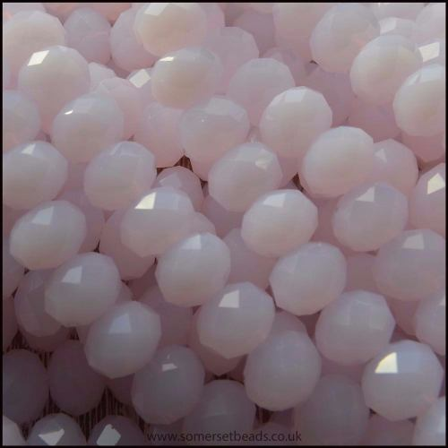 Opaque Faceted Glass Crystal Rondelle Beads Pink 8mm x 6mm
