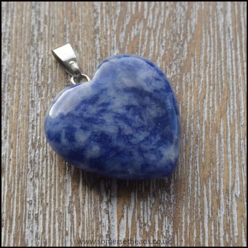 Sodalite Heart Shaped Semi Precious Gemstone Pendant