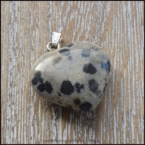 Dalmatian Jasper Heart Shaped Semi Precious Gemstone Pendant