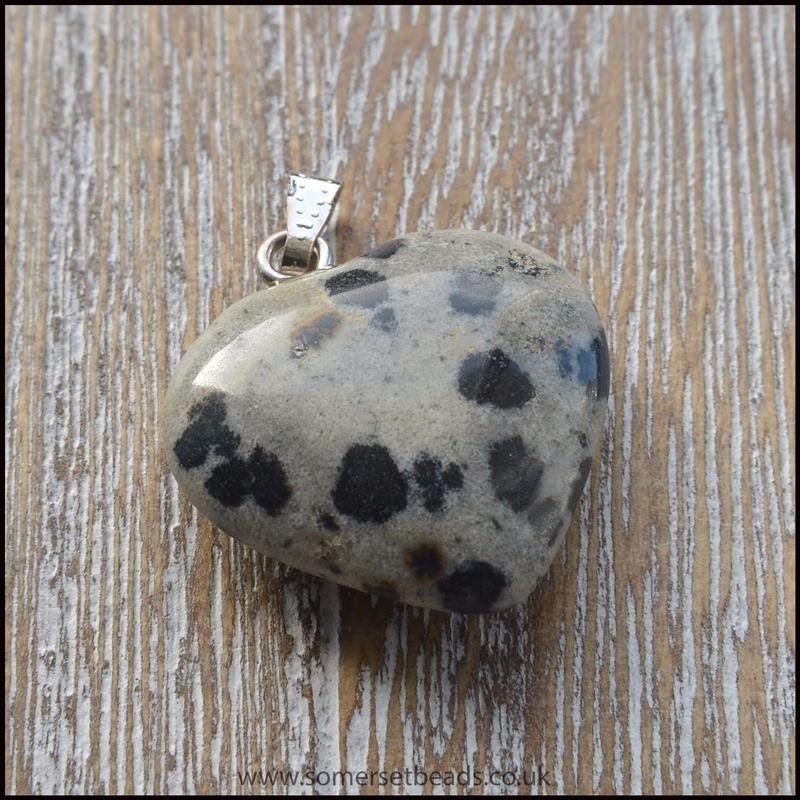 Dalmatian Jasper Heart Shaped Semi Precious Gemstone Pendant