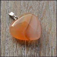 Carnelian Semi Precious Gemstone Heart Shaped Pendant