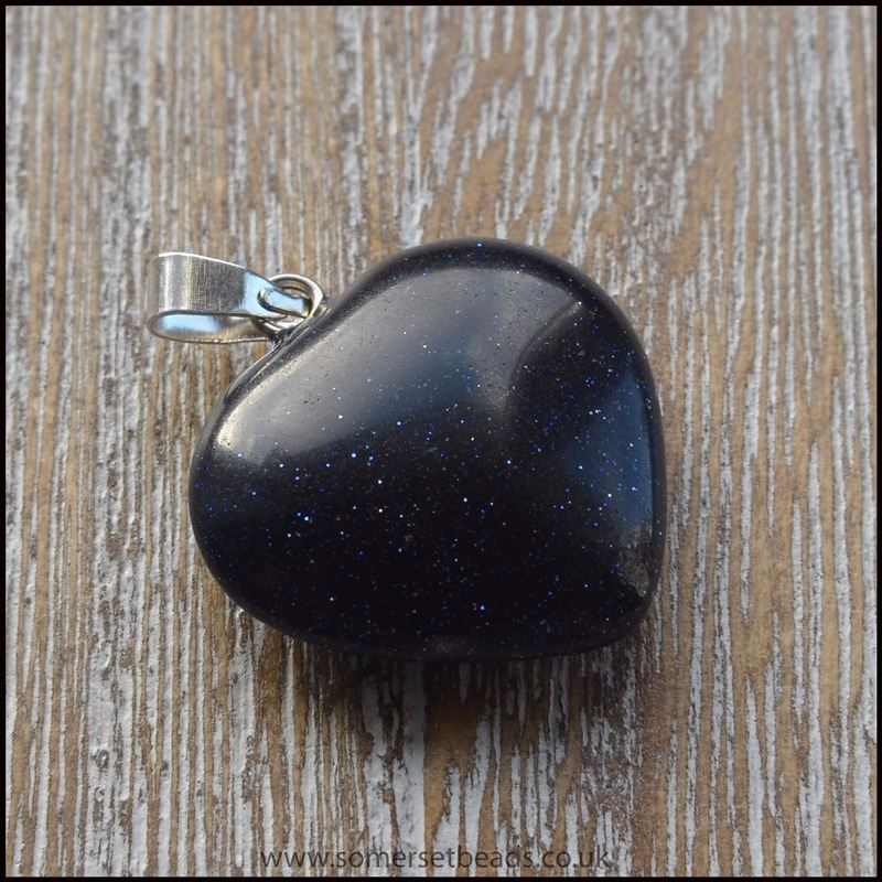 Blue Goldstone Semi Precious Gemstone Heart Pendant