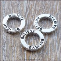 Silver Inspirational Believe Link Rings