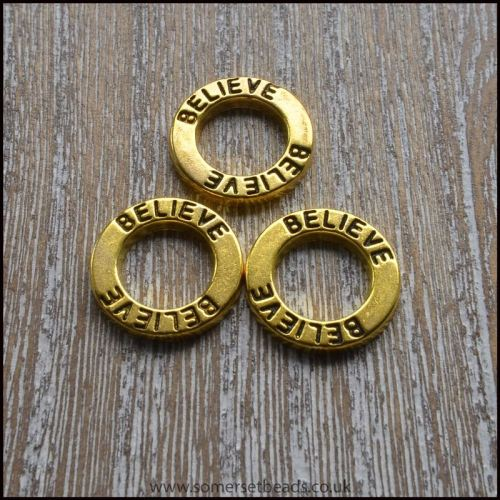 Gold Inspirational Believe Link Rings