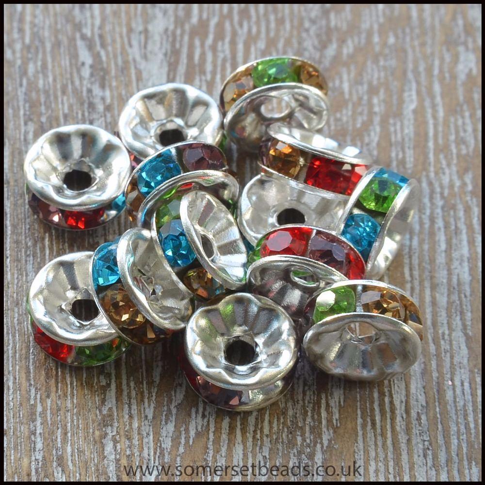 8mm Multi Coloured Rhinestone Spacer Beads