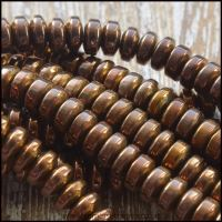 Electroplated Copper Metallic Hematite Saucer Beads 4mm x 2mm