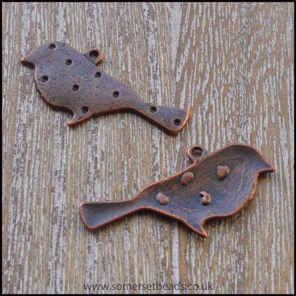 Copper Bird Charms