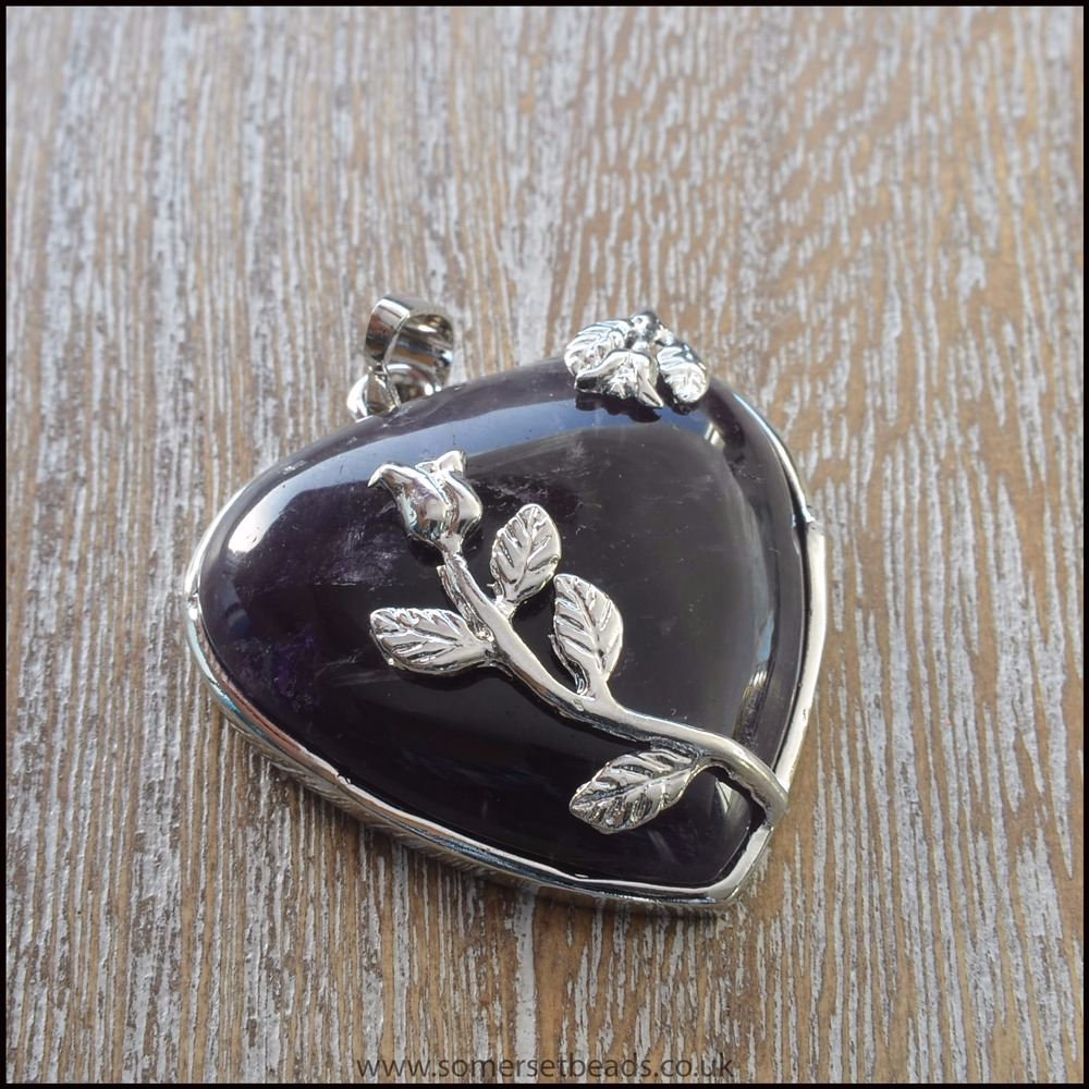 Amethyst Semi Precious Gemstone Heart Pendant