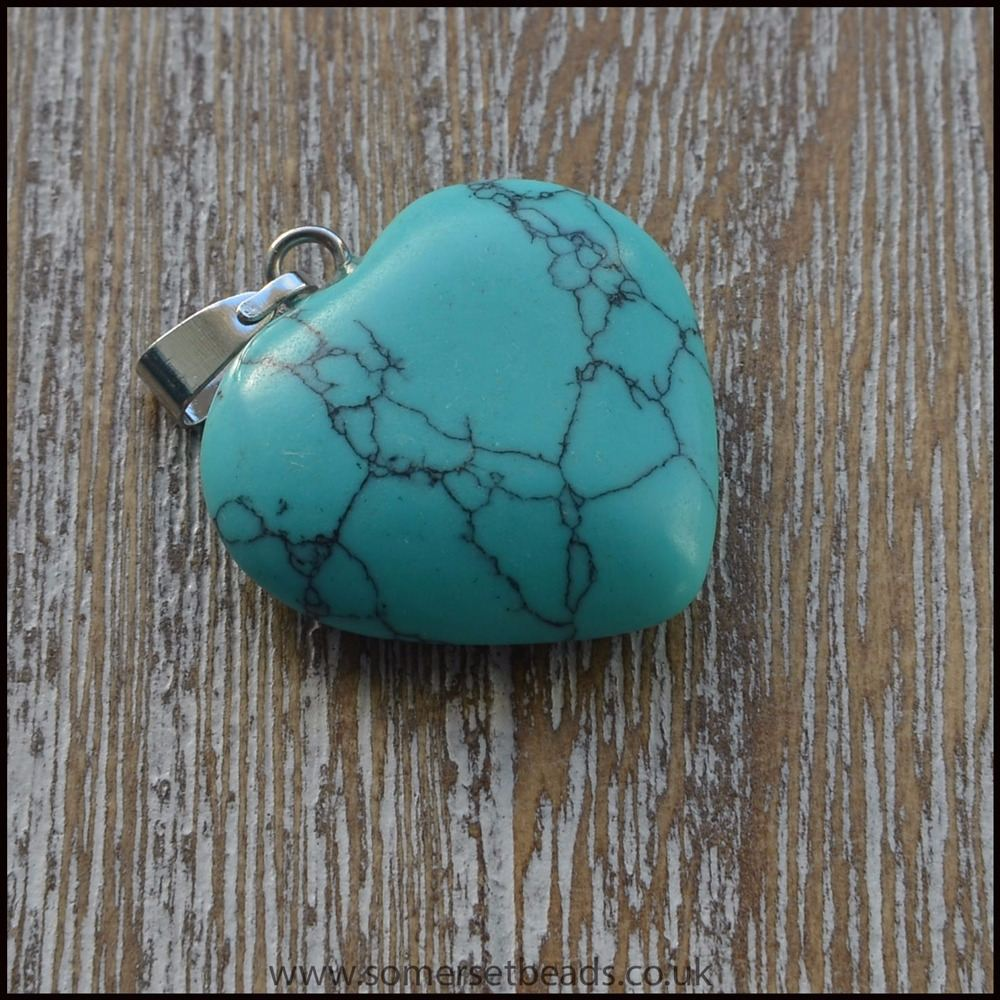 Dyed Turquoise Howlite Heart Shaped Pendant