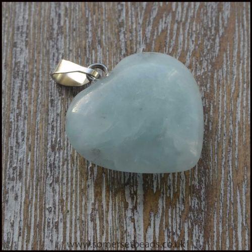 Amazonite Semi Precious Gemstone Heart Shaped Pendant