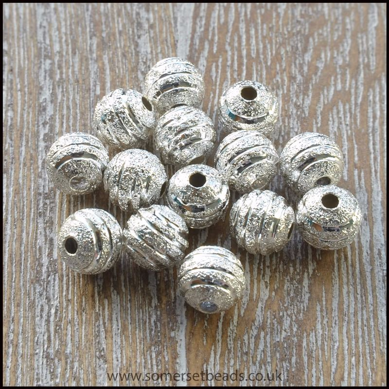 Striped Silver Stardust Beads 6mm