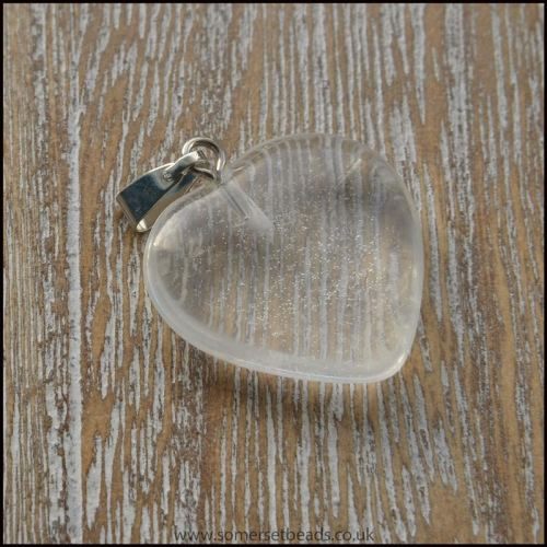 Clear Rock Crystal Quartz Gemstone Heart Pendant