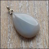 Grey Agate Teardrop Semi Precious Gemstone Pendant