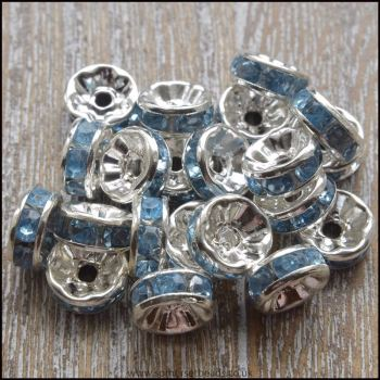 8mm Light Blue Rhinestone Rondelle Spacer Beads