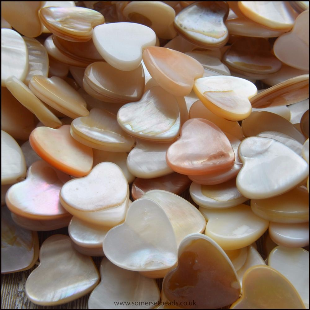 Natural Shell Heart Shaped Beads