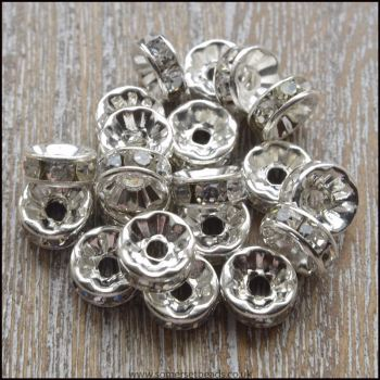 8mm Clear Rhinestone Rondelle Spacer Beads