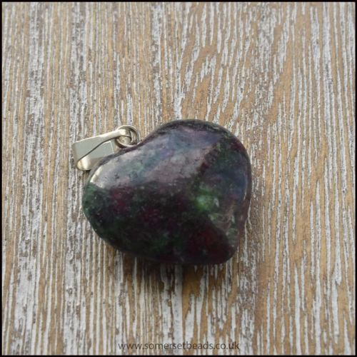 Ruby Zoisite Semi Precious Gemstone Heart Pendant