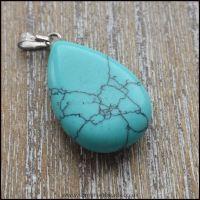 Dyed Turquoise Howlite Teardrop Pendant