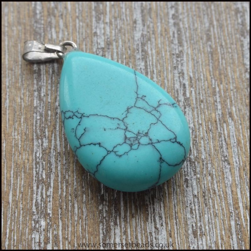 Dyed Turquoise Howlite Teardrop Pendant