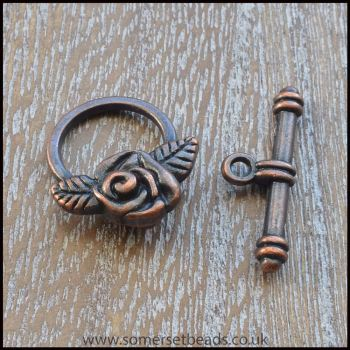 Copper Rose Toggle Clasps
